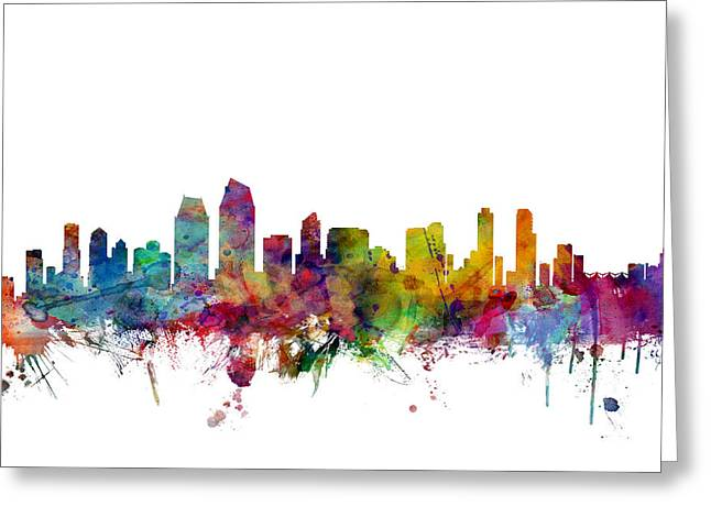 States Greeting Cards - San Diego California Skyline Greeting Card by Michael Tompsett
