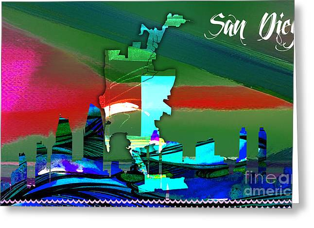 San Diego Map And Skyline Greeting Card by Marvin Blaine