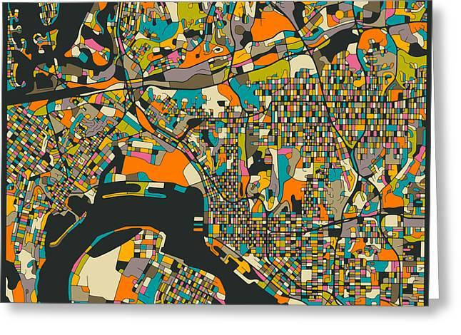 Fine Print Digital Greeting Cards - San Diego Map Greeting Card by Jazzberry Blue