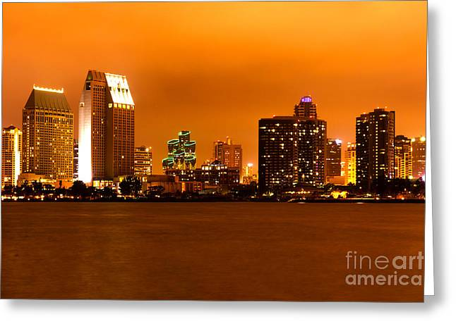 High Rise Greeting Cards - San Diego Skyline at Night Greeting Card by Paul Velgos