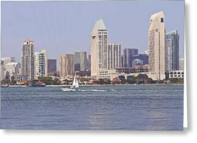 Carrier Greeting Cards - San Diego skyline panorama California. Greeting Card by Gino Rigucci