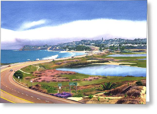 Layered Greeting Cards - San Elijo and Hwy 101 Greeting Card by Mary Helmreich