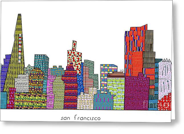 Art Of Building Mixed Media Greeting Cards - San Francisco Greeting Card by Bri Buckley