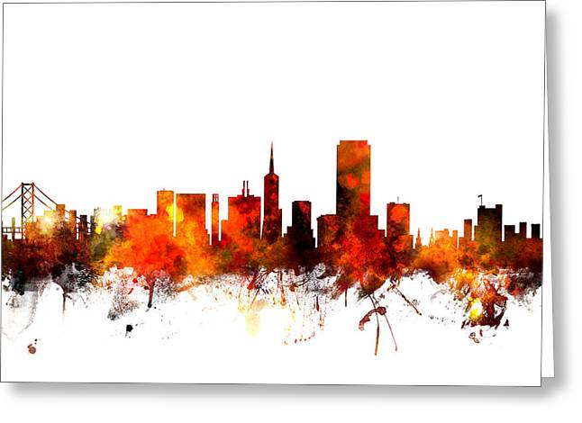 San Greeting Cards - San Francisco City Skyline Greeting Card by Michael Tompsett