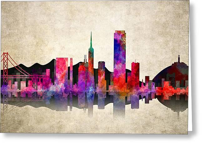Haight Ashbury Greeting Cards - San Francisco Skyline Greeting Card by Daniel Hagerman
