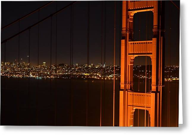 Downtown San Francisco Greeting Cards - San Francisco Through the Golden Gate Bridge Greeting Card by David Lobos