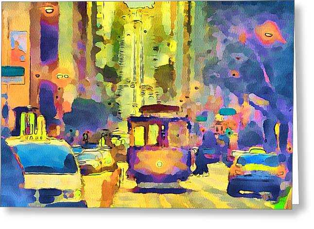 San Francisco Trams 12 Greeting Card by Yury Malkov