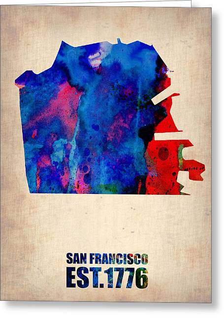 San Francisco Greeting Cards - San Francisco Watercolor Map Greeting Card by Naxart Studio