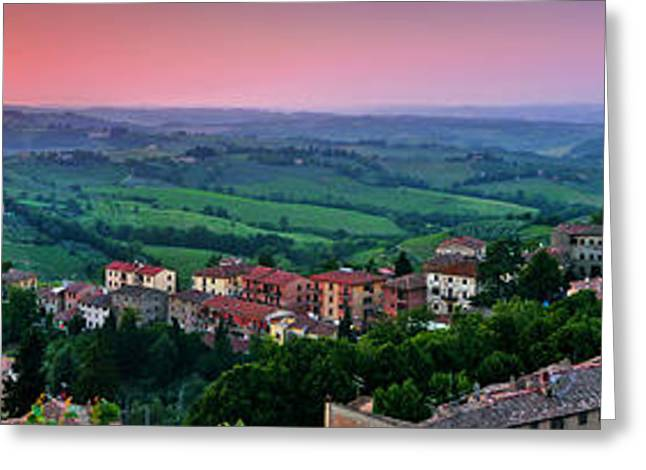 Tuscan Sunset Greeting Cards - San Gimignano Sunset Panorama Greeting Card by JR Photography