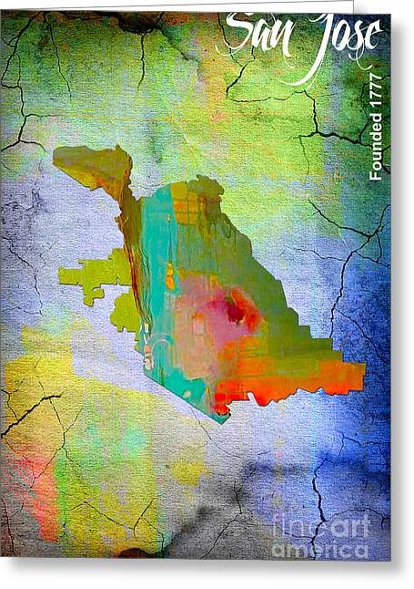 Map Greeting Cards - San Jose Greeting Card by Marvin Blaine