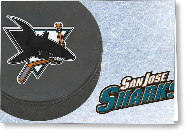 Skates Greeting Cards - San Jose Sharks Greeting Card by Joe Hamilton