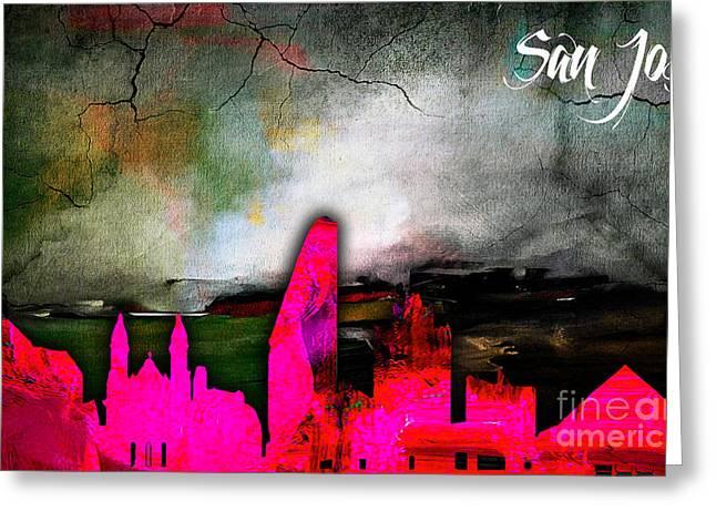 San Jose Greeting Cards - San Jose Skyline Watercolor Greeting Card by Marvin Blaine