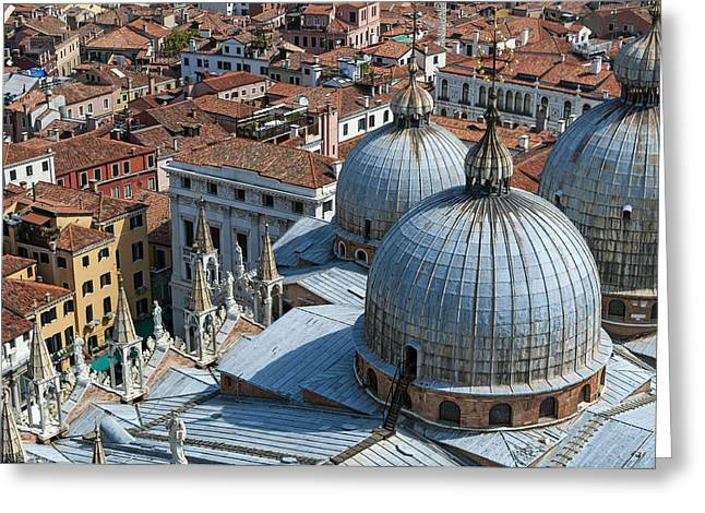 Historic Statue Greeting Cards - San Marco Basilica. Venice. Greeting Card by Fernando Barozza