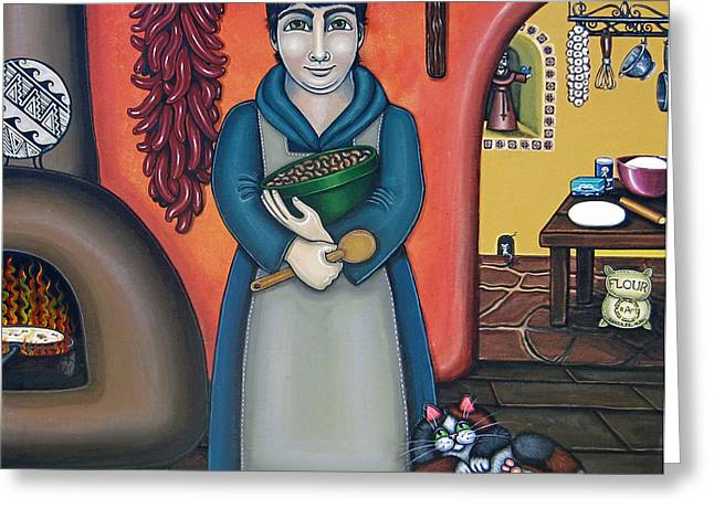 Saint Of Cooks Greeting Cards - San Pascuals Kitchen Greeting Card by Victoria De Almeida