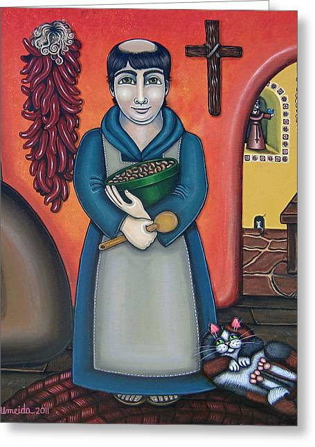 Hispanic Folk Art Greeting Cards - San Pascuals Kitchen Greeting Card by Victoria De Almeida