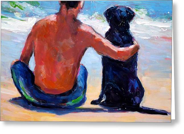 Man And Dog Greeting Cards - Sand Sea You Me Greeting Card by Molly Poole