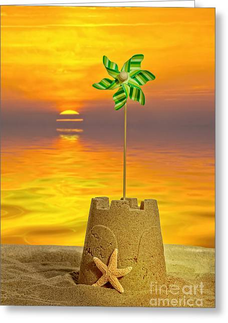 Sandcastle Greeting Cards - Sandcastle At Sunset Greeting Card by Amanda And Christopher Elwell