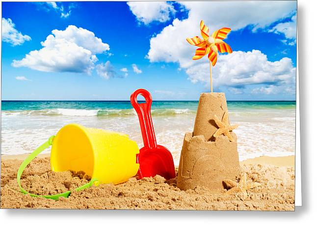Golden Sand Greeting Cards - Sandcastle Greeting Card by Amanda And Christopher Elwell