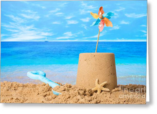 Golden Sand Greeting Cards - Sandcastle On Beach Greeting Card by Amanda And Christopher Elwell