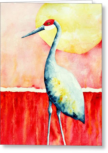 Sandhill Cranes Paintings Greeting Cards - Sandhill Crane II Greeting Card by Sarah Rosedahl
