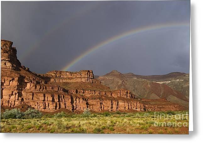 Sandstone Mesas With Rainbow, Utah Greeting Card by David Parker