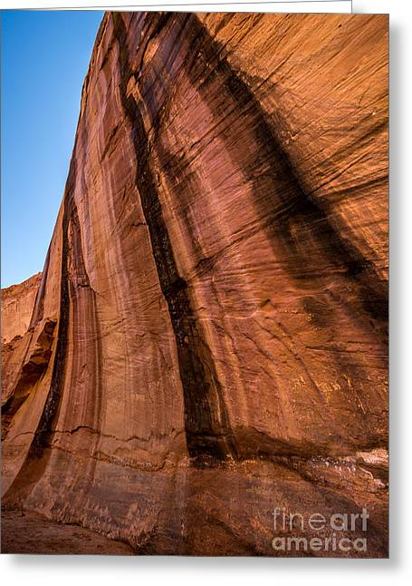 Coyote Gulch Greeting Cards - Sandstone Varnish Cliff - Coyote Gulch - Utah Greeting Card by Gary Whitton