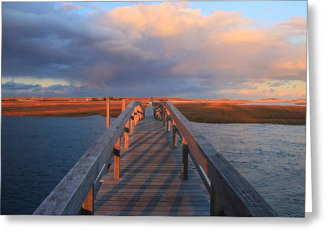 Sandwich Greeting Cards - Sandwich Boardwalk Sunset Cape Cod Greeting Card by John Burk