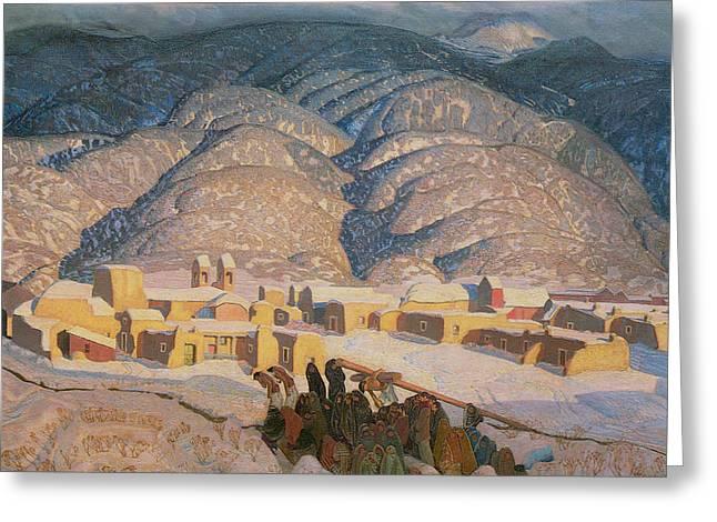 Sangre De Cristo Greeting Cards - Sangre de Cristo Mountains Greeting Card by Ernest L Blumenschein