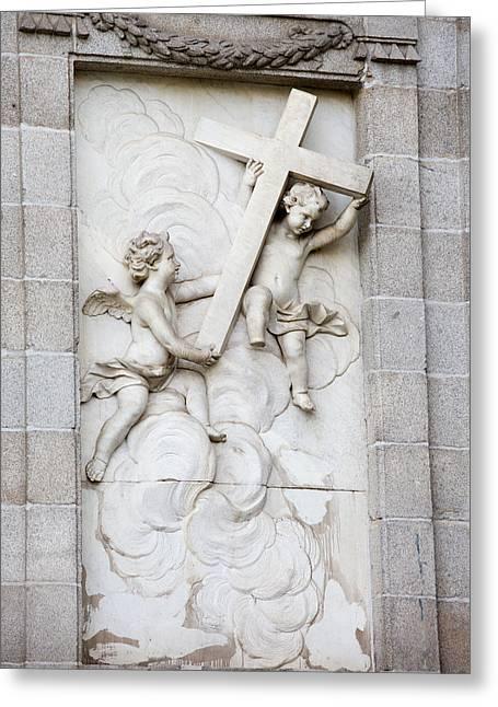 Sculpture Relief Greeting Cards - Santa Barbara Church Sculpture Greeting Card by Artur Bogacki