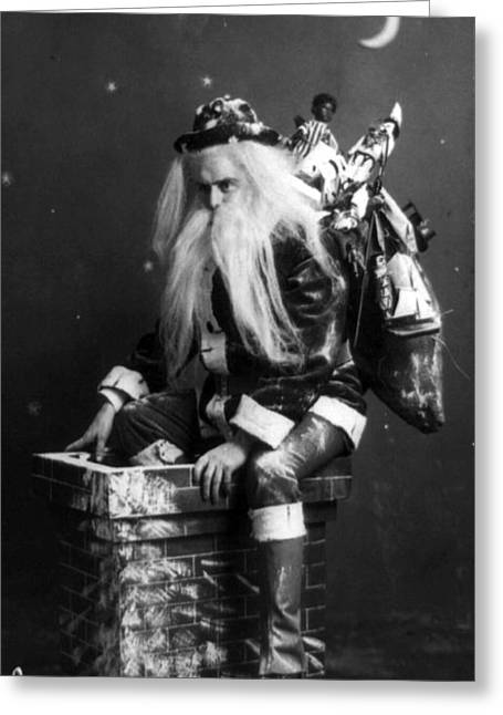 Christmastime Greeting Cards - Santa Claus 1900 Greeting Card by Photo Researchers