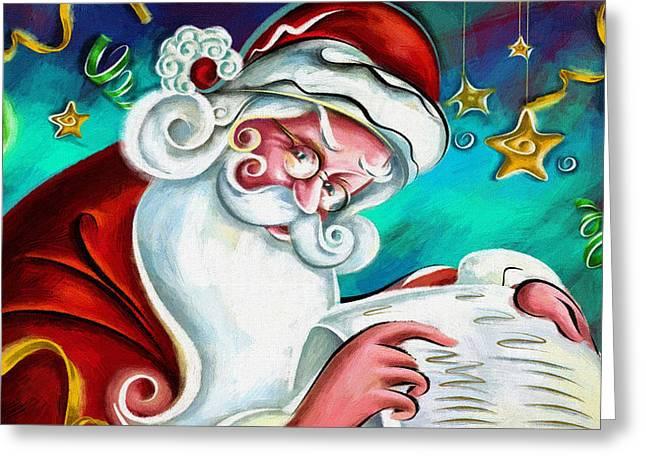 New Year Greeting Cards - Santa Claus Greeting Card by Victor Gladkiy