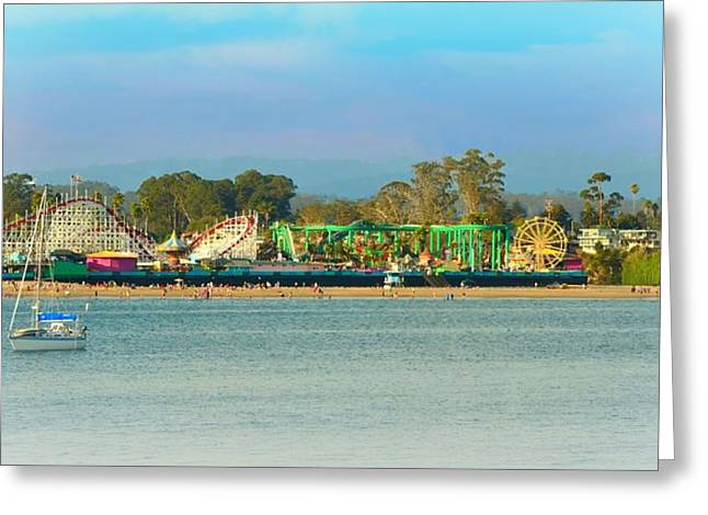 Santa Cruz Sailboat Greeting Cards - Santa Cruz Boardwalk Greeting Card by Marilyn MacCrakin