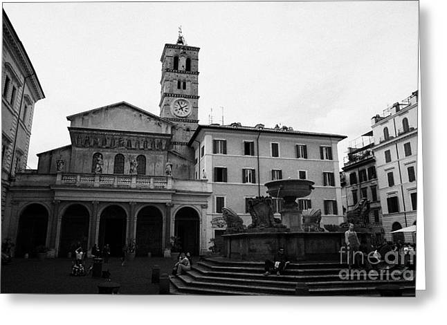 Trastevere Greeting Cards - santa maria de trastavere in Rome Lazio Italy Greeting Card by Joe Fox