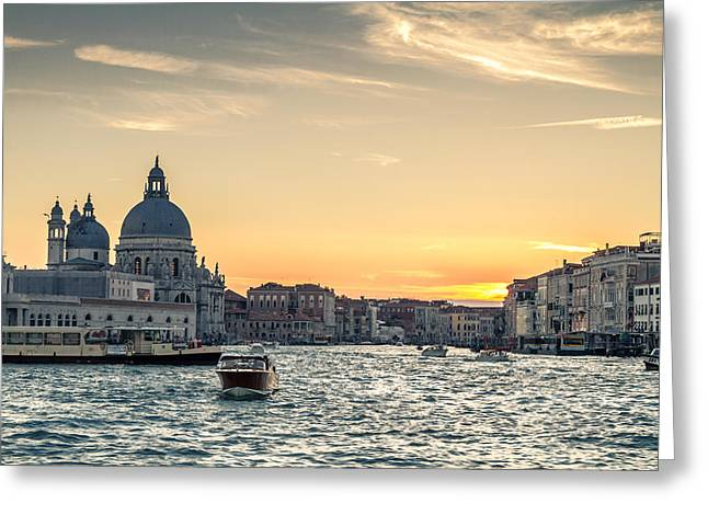 Byzantine Greeting Cards - Santa Maria della Salute and the Grand Canal at sunset Greeting Card by Leander Nardin