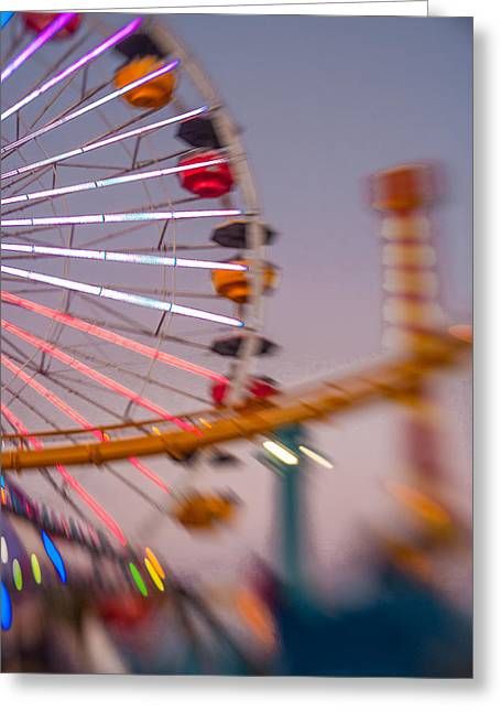 Blur Greeting Cards - Santa Monica Pier Ferris Wheel and Roller Coaster at Dusk Greeting Card by Scott Campbell