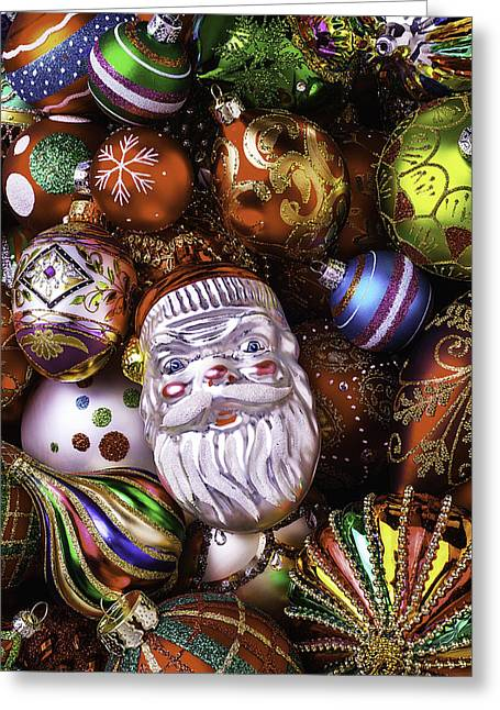 Many Faces Greeting Cards - Santa Ornament Greeting Card by Garry Gay