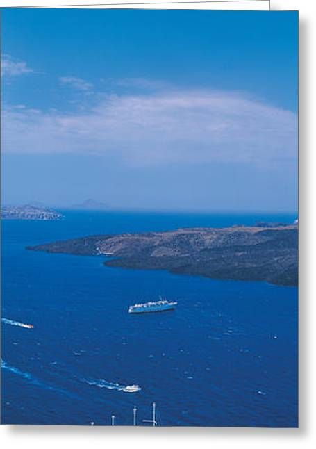 Visitors Greeting Cards - Santorini Island Greece Greeting Card by Panoramic Images