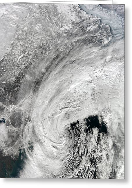 Storm Clouds Cape Cod Greeting Cards - Satellite View Of A Large Noreaster Greeting Card by Stocktrek Images