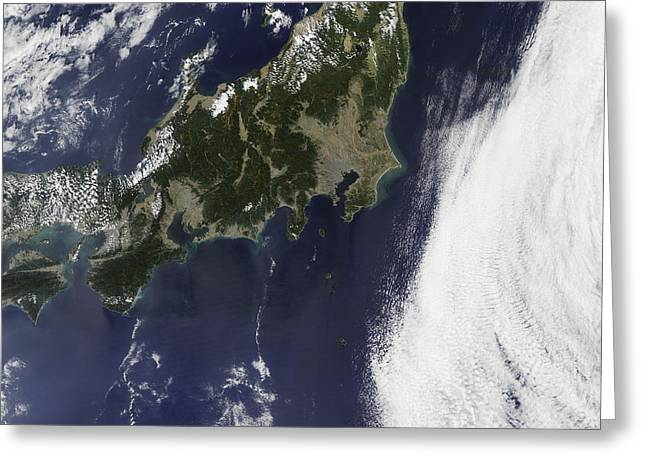 East China Greeting Cards - Satellite View Of Japan Greeting Card by Stocktrek Images