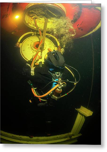 Saturation Dive Training Greeting Card by Louise Murray