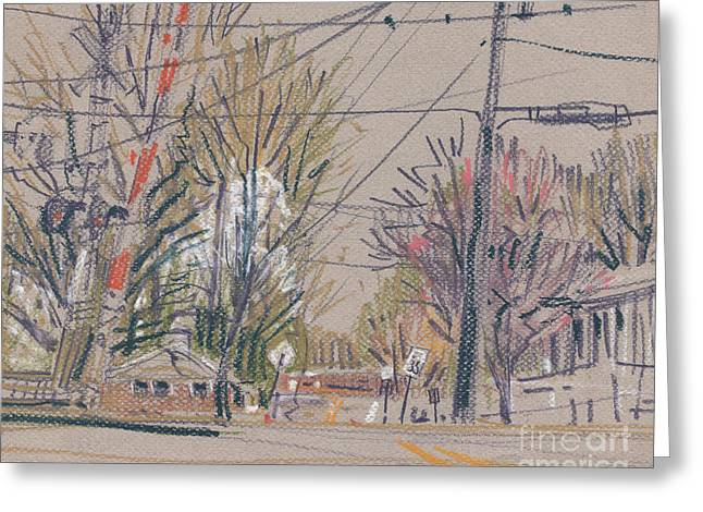 Railroad Crossing Greeting Cards - Sawyer Crossing Greeting Card by Donald Maier