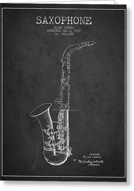 Saxophone Greeting Cards - Saxophone Patent Drawing From 1937 - Dark Greeting Card by Aged Pixel