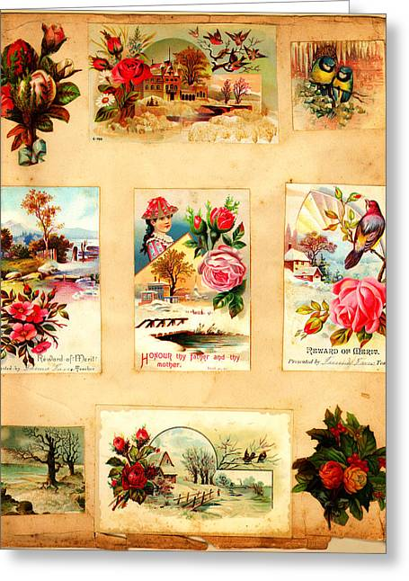 High Society Mixed Media Greeting Cards - Vintage Post Card Greeting Card by MotionAge Designs