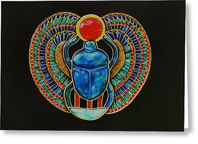Egyptian Art Greeting Cards - Scarab Greeting Card by Joseph Sonday