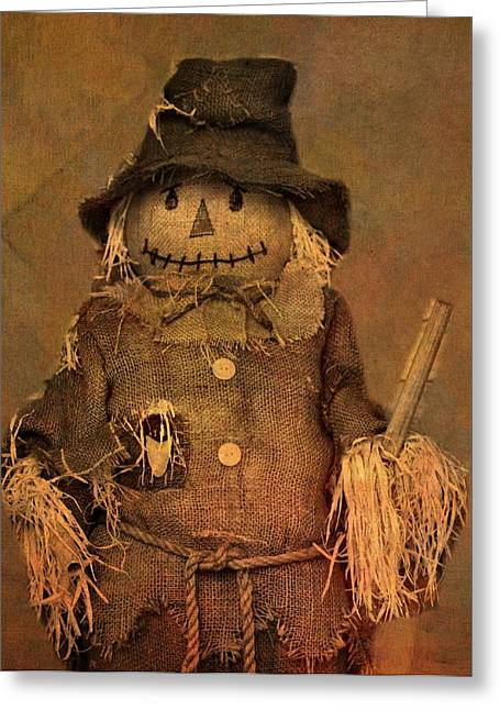 Crow Mixed Media Greeting Cards - Scarecrow Greeting Card by Dan Sproul