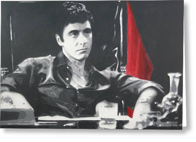 Scarface Greeting Cards - Scarface Greeting Card by Luis Ludzska