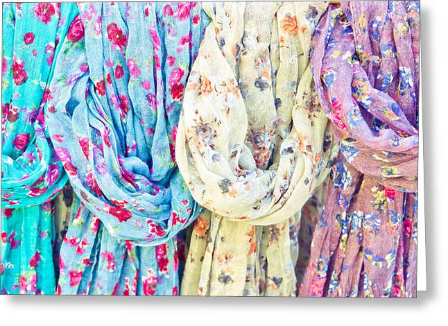Asian Market Greeting Cards - Scarves Greeting Card by Tom Gowanlock