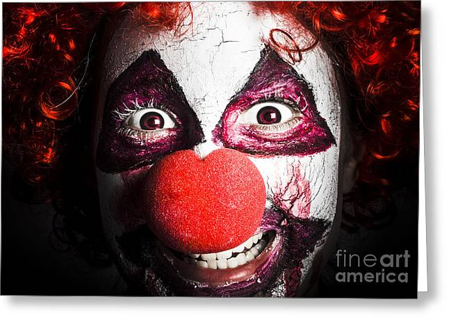 Scary Clown Greeting Cards - Scary And Evil Clown Smiling In Dark Spooky Style Greeting Card by Ryan Jorgensen