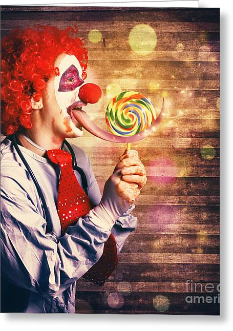 Scary Circus Clown At Horror Birthday Party Greeting Card by Jorgo Photography - Wall Art Gallery