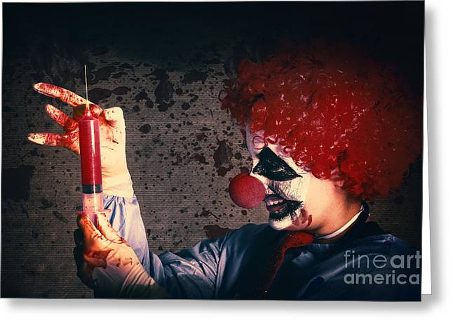 Vaccine Greeting Cards - Scary clown giving bad medicine vaccination Greeting Card by Ryan Jorgensen